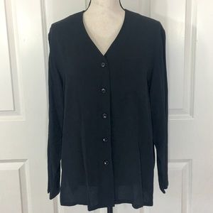 Evan Picone Crepe Long Sleeve Button Down Blouse